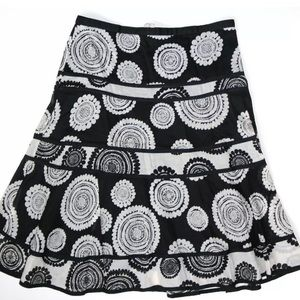 Pale Gray/Black Full Skirt in Pieced Construction